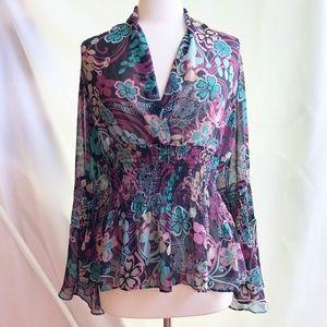 Bisou Bisou Floral Sheer Top w/ Flared Sleeves M